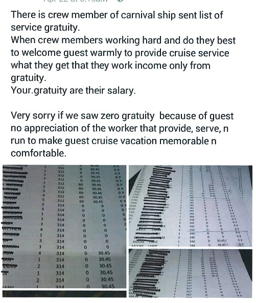 Carnival Pre-Paid Gratuity Removed