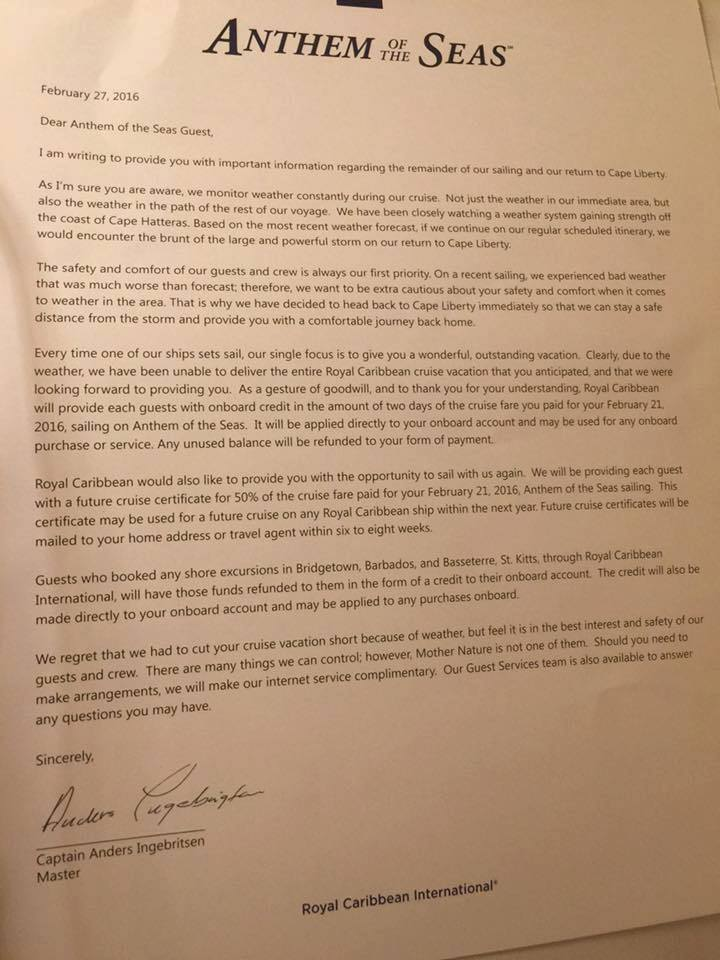 Anthem of the Seas Captain's Letter